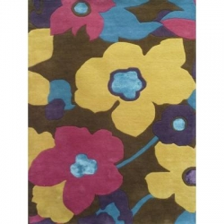 TUFTED WOOL & VISCOSE - FLOWERS 200x290